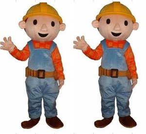 Professionelle Gewohnheit Bob der Baumeister Maskottchen Kostüm Cartoon Builder Junge Charakter Maskottchen Kleidung Weihnachten Halloween Party Kostüm