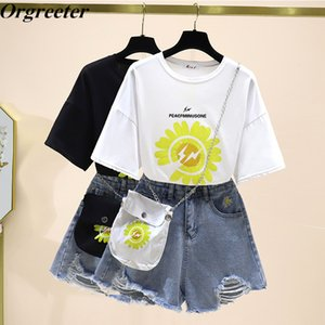2020 Summer Hot Fashion 2 piece set Women Flower Printted Loose Tshirt and Daisy Embroidery Denim Shorts Suits With Free Bag T200701