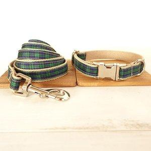 Collier de chien personnalisé Gravé chiot ID Tag Collier Leash Set réglable extérieur Plaid Pet Leash coton LA FORÊT CARREAUX