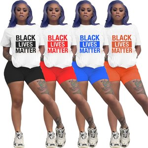 Women Black Lives Matter Tracksuit Designer Letters Two Piece Clothing Luxury Short Sleeve Outfits Brand Sportwear T-shirt Shorts Suit D6509