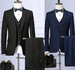 Latest Black Men Suit 2019 Notched Lapel Slim Fit Prom Suits 3 Piece Groom Wedding Tuxedos For Men Custom Blazer (Jacket+Pant+Vest +Bow)
