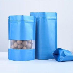 1000pcs Penceresi ile Mavi Alüminyum Folyo Öz mühür Bag Ayağa kalk, Gıda Çay Şeker Cookie için Kılıfı Packaging Metalik Plastik