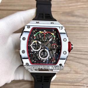 Новый RM50-03/01 McLaren F1 скелет циферблат Miyota Кварцевый хронограф мужские часы RM50-03 белый корпус из углеродного волокна резиновый ремешок спортивные часы A1