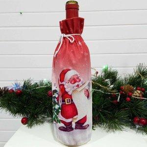 3Pcs Christmas Wine Bottle Dress Wine Bottle Cover Wine Coat Old Man Snowman Elk Print Bottle Dress Sets Xmas Party Decorations Christmas De
