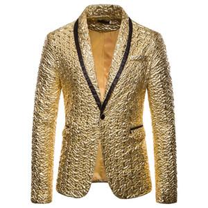 MJARTORIA uomini di Modo Lucido giacche oro scintillio del vestito Giubbotti Maschio Discoteca One Button Suit Blazer DJ Fase Giacche