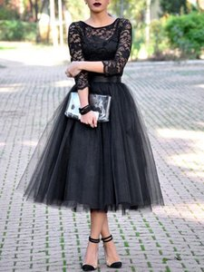 Fashion Black Party Gown Lace Tops Tulle Tea Lenght Prom Dress robe de soiree Custom Made