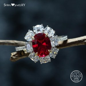Shipei Genuine Ruby Ring 100% 925 Sterling Silver Oval Ruby Ring Silver 925 Jewelry Wedding Engagement Coctail Size 6-9