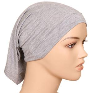 Cubierta de la cabeza debajo de la bufanda de Hijab del tubo del capo Bone Chemo del sombrero del algodón Tapa Interna para mujer musulmana interior Hijab Caps underscarf