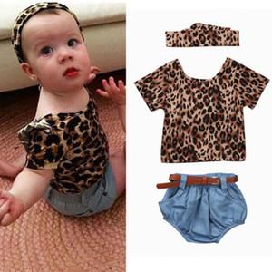 4 ADET Yenidoğan Bebek Bebek Kız Leopar Kısa Kollu Ruffles Bluz Tops + Denim Şort Romper Headhand Kemer Kot Elbise Kıyafetler