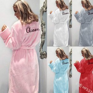 Пижамы Весна Осень Зима Nightcoats Теплой одежды Женщина пижама Rope фланель Queen Nightgown