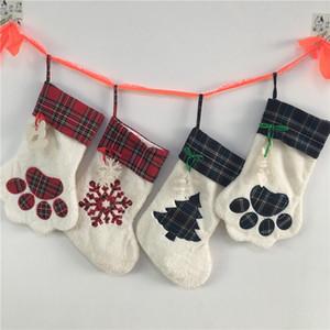 Große Fluffy Sankt-Socken Weihnachten Haustier Hund Plaid-Tatzen-Strumpf Hängen Kamin Weihnachtsbaum Weihnachtsdekoration 08