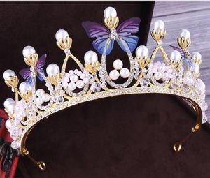 Rhinestone бабочка Люкс Тиара Корона Pearls Кристалл Veil Диадемы Свадебные аксессуары для волос головные уборы