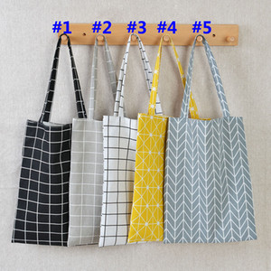 Reusable Grocery Bags Plaid Candy Color Large Capacity Straw Beach Bags Hand Bag Women Casual Leisurely Shoulder Bag HH9-2095