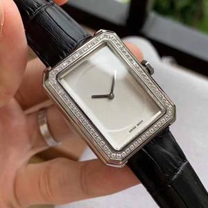 plata mujeres del cuarzo del reloj del diamante de acero inoxidable de cuero de moda Reloj de pulsera bonito regalo para las señoras Montre Femme reloj femenina