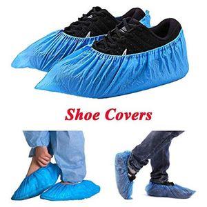 100Pcs Tek Plastik Kalın Açık Yağmurlu Gün Halı Yıkama Ayakkabı Kapak Mavi su geçirmez ayakkabı örtüleri Sıcak satış