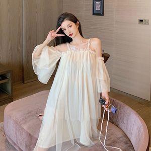 Design Pérola Suspender Skirt 2020 New Fairy Dress Chic suave vento off-Ombro malha Slimming Vestido