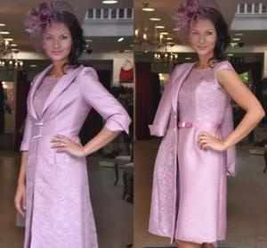 Diz Boyu Işık Mor Kısa Anne Gelin Elbise Ceket Ile Dantel Saten Sütun Bayanlar Akşam Parti Elbise Resmi Düğün Konuk Bowns