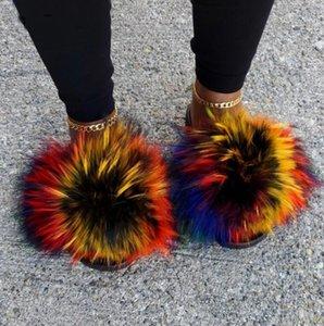 Yaz Kabarık Rakun Kürk Terlik Ayakkabı Kadınlar Gerçek Kürk Flop Düz Tüylü Slaytlar Açık Sandalet Kadın Şaşırtıcı Ayakkabı çevirin
