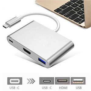 3-en-1 USB 3.0 Tipo-C a + HDMI + USB 3.0 Tipo-C Mujer multipuerto adaptador de tipo C a USB 3.0 4K HDMI convertidor de cable 3B30