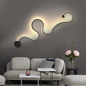 Modern criativo da arte Serpentine Wall Lamp Quarto simples lâmpada de cabeceira sala corredor sala lâmpada de parede de fundo decorativo