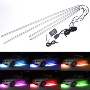4pcs 12V RGB LED-Auto-Schlauch-Streifen-Licht-Glühen Neon Atmosphäre Mood Lampe wasserdichtes IP68 mit Fernbedienung