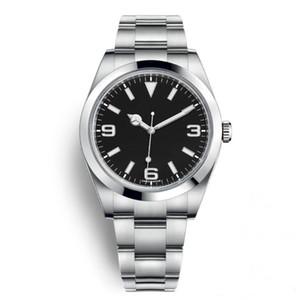 De haute qualité de luxe Montres Hommes Explorateur cadran noir en acier inoxydable Montre automatique Occasionnel Date Reloj De Lujo De Marca Relojes Montrésor montre