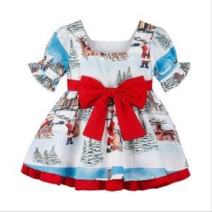 Sıcak satış yeni Noel patlama modelleri ins olarak çocuklar Noel Baba gibi büyük yay etek kız elbise yeni çocuk elbise yazdırmak snowflake