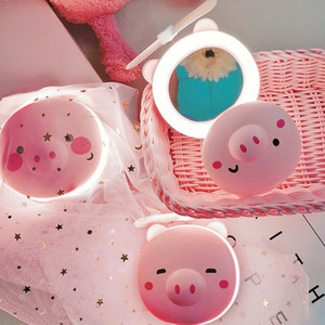 HobbyLane 1pcs portátil de dibujos animados de cerdo LED de luz de relleno de maquillaje Espejo Ventilador USB brillante ajustable de carga portátil de mano mini ventilador de la buena calidad