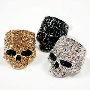 남성을위한 브랜드 해골 반지 잠금 펑크 남여 크리스탈 블랙 / 골드 컬러 바이커 반지 남성 패션 해골 쥬얼리 도매