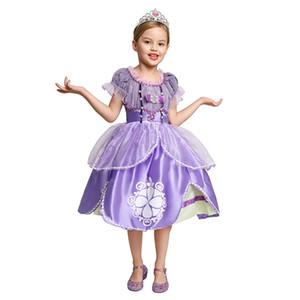 Горячие продажи! Pearls Бисероплетение Принцесса София платье для девочек сетки лиф clothers платья бального Первой партии косплей костюм ребенок Хэллоуин Outfit