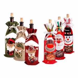 Décorations de Noël pour la maison du Père Noël Bouteille de vin Bonhomme de neige Couverture Stocking Porte-cadeau de Noël Navidad Décor Nouvel An