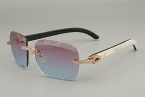 2019 عدسة جديدة النقش المباشر ، عالية الجودة سلسلة الماس منحوتة النظارات الشمسية 8300765 القرن الطبيعي النقي مختلطة / النظارات الشمسية القرن الأسود زهرة
