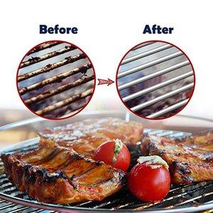 2019 nuovo acciaio inossidabile Barbecue Grill Cleaner Brush Molla a tre fili con manico Durevole Spazzole di pulizia antiaderente Outdoor BBQ CleanTool
