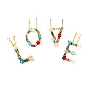 Collar inicial de gran colorido diamantes de imitación chapado en oro collar personalizado nombre de letra del collar de la joyería para las mujeres Novia Accesorios