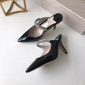 Réalité photos mode femmes en cuir verni noir talons hauts bouche peu profonde fait pointe designer chaussures dames hauts talons luxe hi chuang190405