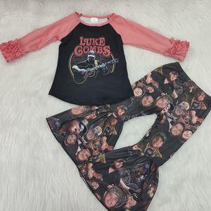 Luke Gombs Criança Bebés Meninas Menino Boutique Ruffle Tops de Bell calças fundo Outfits roupa ocasional