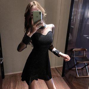 Spring New Retro Little Black Dress Heart Machine Heavy Industry Temperament Fashion Sexy Fairy Show Thin Fishtail Dress Trend