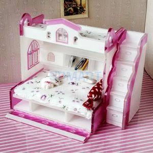 1/12 Escala Dollhouse Miniatura Modelo de cama litera doble para muñecas Casa Dormitorio Muebles Escenas de vida Decoración Habitación Accesorio # 2 SH190913