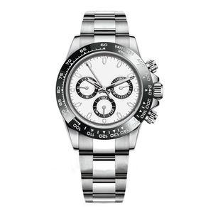 Luxo Mens Watch 116500LN Designer Assista Montre De Luxe Relógio de pulso automático prata Ceramic Bezel 316L Aço Adustable Folding Buckle