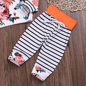Cute Infant Baby Girls Spring Autumn Sweatshirt Floral Hoodies + Straped Pants Outfits Set Toddler Tracksuit Clothing