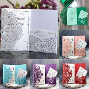 Convite do casamento Cartões Kits Flor da Primavera Cartão do convite Laser Cut bolso nupcial para festa de aniversário de Pós-Graduação Engagement Invites WX9-1586