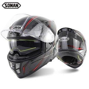 Soman X7 Cobra 24k Aprovação capacete de fibra de carbono da motocicleta completa Corrida de Casco Duplo Lens Dot