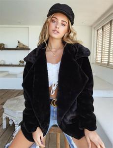 Bayanlar Rahat Sıcak Katı Açık Dikiş Parka Ceket Dış Giyim Kadın Kış Kabarık Shaggy Uzun Kollu Faux Kürk