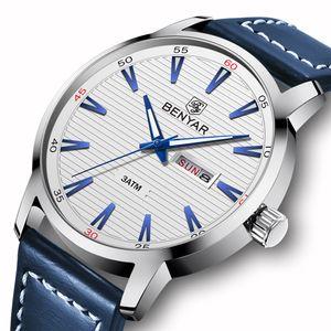BENYAR 2018 New Men Watch Luxury Top Brand Automatic Week Date Military Fashion Male Quartz Leather Wristwatch Relogio Masculino