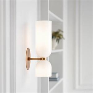 New Nordic Gang Wandleuchte leuchtet Schlafzimmer Nacht Down-Design Wohnzimmer Rauch grau \ weiß \ blaue Glaslampenschirm-Wandleuchte