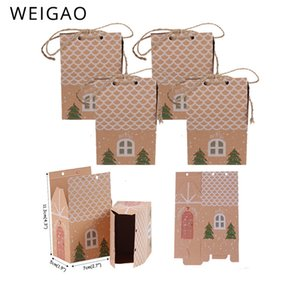 Weigao 20pcs Regalo di carta Kraft Box Xmas Cookies Imballaggio Caramelle di Natale Busta regalo Presente Capodanno 2019 Natale Decor