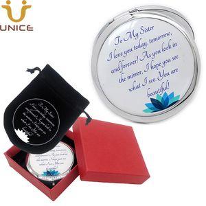 100pcs / lot logotipo personalizado portable del maquillaje del espejo del espejo de bolsillo de plata redondos espejos de aumento con caja de regalo y bolsa de terciopelo
