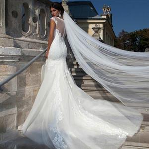 Longa simples Wedding Veil Cut Borda 1-Layer Romântico Catedral Véu de Noiva comprimento 3 metros Suave Tulle para Vestido de Noiva Branco Marfim com Comb