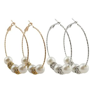YYW New Fashion Gold Silver Color Hoop Earrings With Abs Plastic Earrings For Women Gifts Pearl Boucle D'Oreille Bohemian Circle