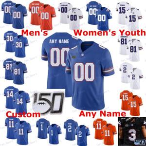 Custom Florida Gators Football 2020 Nova Tigela Laranja Azul Branco # 11 Kyle Trask Aaron Hernandez Toney Perine Tebow Pitts Swain Copeland Jersey